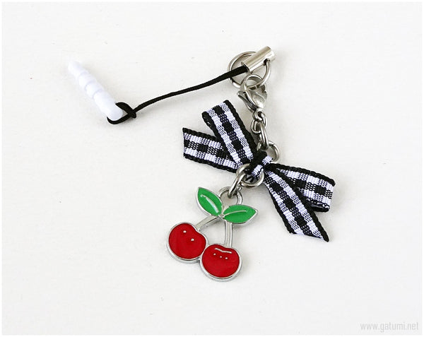 Kawaii Cherry Phone Charm Dust Plug, Harajuku Fashion, Cute Accessories, Mobile Phones, Handmade