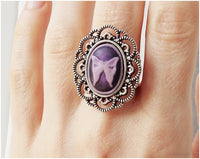 Purple Butterfly Ring, Cameo Jewelry, Adjustable, Harajuku Fashion, Gothic Lolita