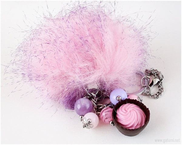 Pastel Goth Pom Pom Bag Charm, Key Chain, Jfashion, Cute Gifts for Her