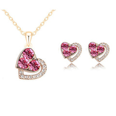 2015 New Arrival Heart Crystal African Fashion Costume Jewelry Sets for Women Pendants Necklace Earrings Sets