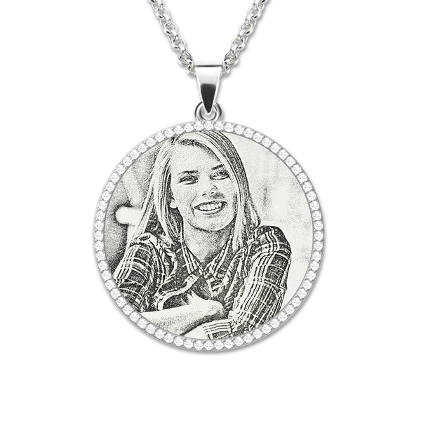 Wholesale Photo Engraved Necklace Sterling Silver Birthstone Mother Jewelry Custom Memorial gift