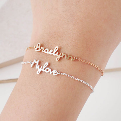 Personalized Custom Name Bracelet Charms Handmade Women Kids Jewelry Engraved Handwriting Signature Love Message Customized Gift