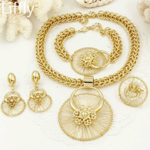 Liffly New Italy Fashion Costume Jewellery African Women Big Necklace Bracelet Rings Earrings Set Dubai Gold Platin Jewelry Sets