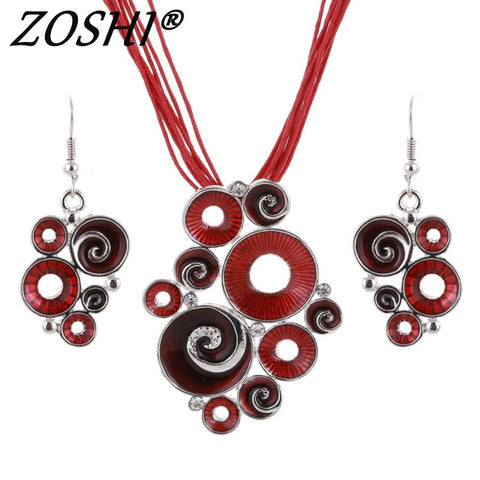 Fashion Enamel Multi Ropes Leather Chain Silver Plated Geometry Pendant Necklace Earring Sets Women Wedding Costume Jewelry Set