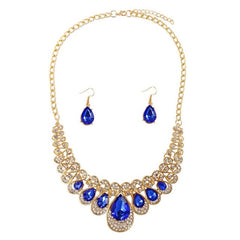 Hot African female costume Jewelry set for women Gold Necklace earrings set wedding party bridal Crystal Jewelry Sets