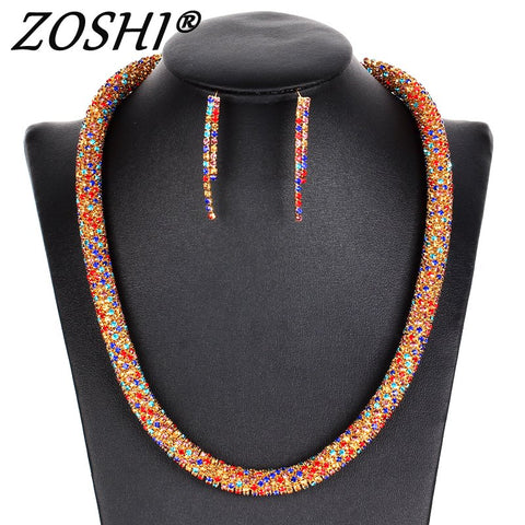 ZOSHI Party Gold Silver Jewelry Sets Women Costume Statement Necklace Drop Earring Fashion Romantic Classic Wedding Accessories