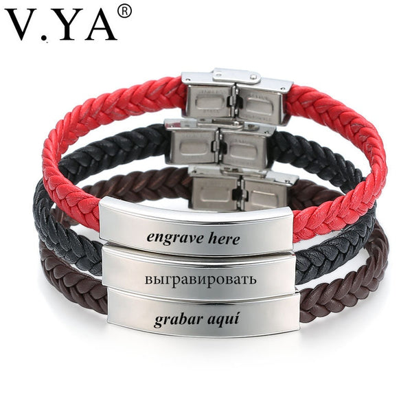 V.YA Laser Engrave Name ID Personalized Name Bracelets For Men Women Stainless Steel Soft Leather Braided Rope Bracelet Custom