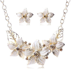 Austrian Crystal Enamel Flower Jewelry Sets Women African Costume Jewelry Maxi Necklace Earring Set XY-N404