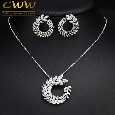 CWWZircons Fashion Women Costume Jewelry Sparkly Olive Branch Marquise Cut Cubic Zirconia Pendant Necklace and Earring Sets T087