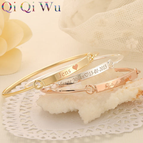 Personalized Gold Bar Name Bracelet Custom Engraved Nameplate Bangle Jewelry Gifts for Women Initials Bangles and Bracelets Gift