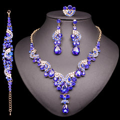 Fashion Crystal Necklace Sets Earrings Dubai Jewelry Sets Indian Luxury Bridal Wedding Costume Jewellery Gifts for Brides Women