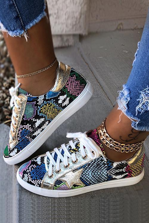 Lace Up Star Snake Sneakers
