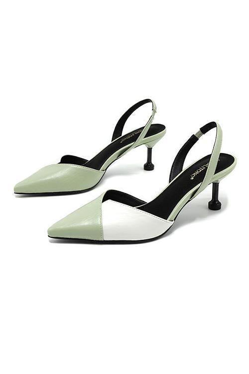 Color Block Pointed Toe High Heel Pumps