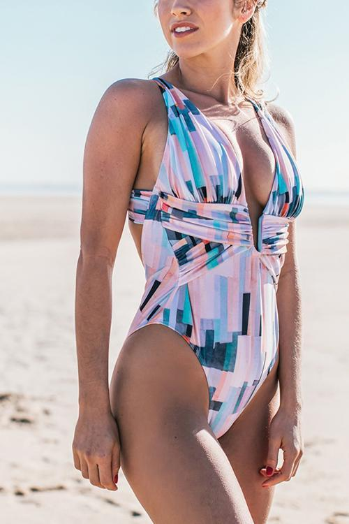 Print Deep V Neck Backless One Piece Swimwear