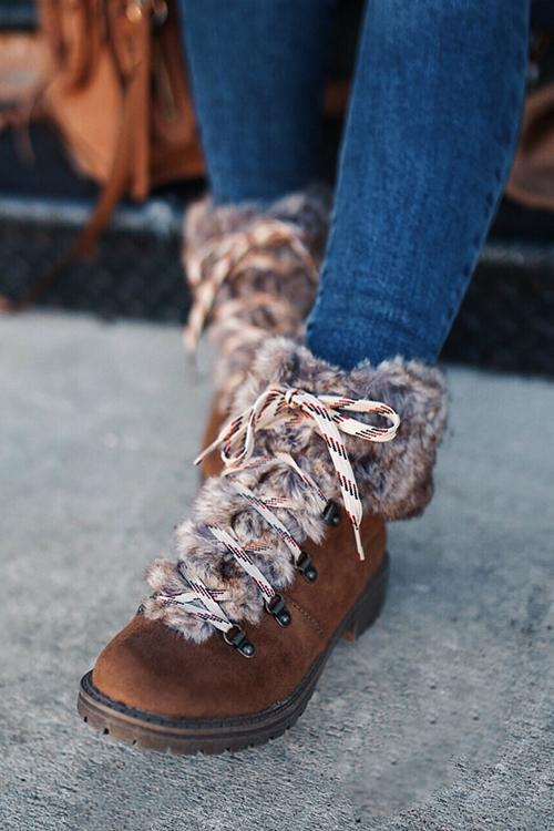 Faux Fur Lace Up Ankle Boots