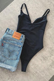 Solid V Neck Slip One Piece Swimwear