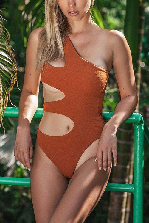 Cut Out One Shoulder Swimwear