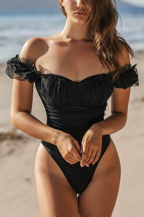 Puff Sleeve One Piece Swimwear