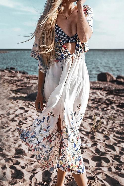Floral Print V Neck Cover Up