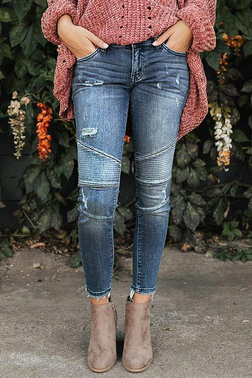 Pleated Ripped Moto Jeans