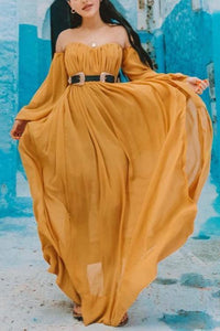 Off Shoulder Slit Maxi Dress