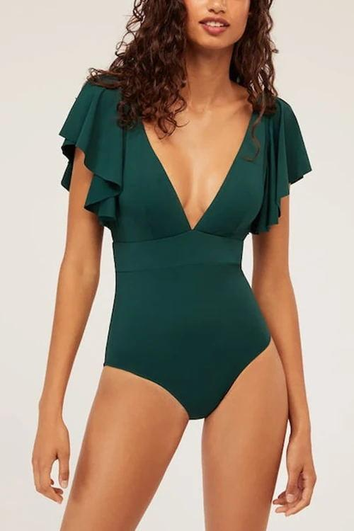 Ruffles Deep V Neck One Piece Swimwear