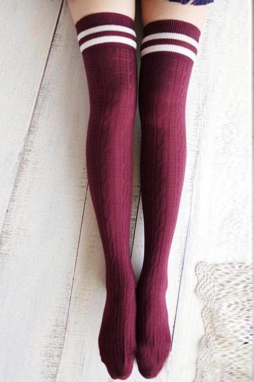 Stripe Weave Over Knee Socks