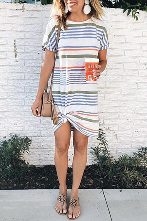 Striped Short Sleeve Loose Dress