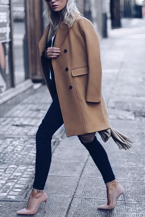 Double Breasted Woolen Coat
