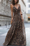Leopard Print Slip Maxi Dress