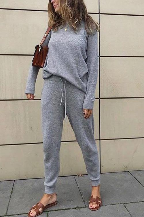 Boat Neck Long Sleeve Pants Sets