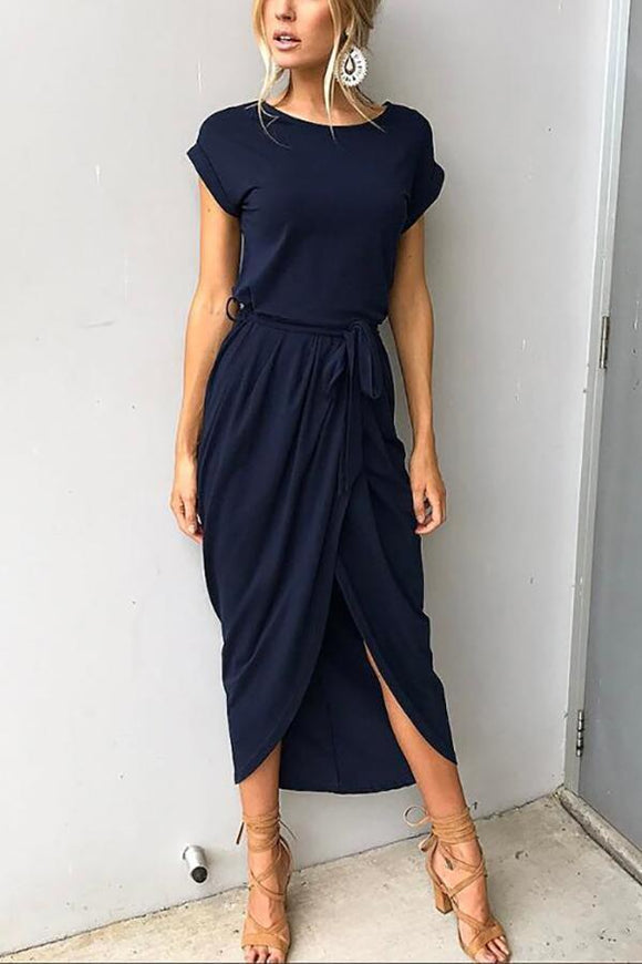 Lace Up Slit Casual Maxi Dress