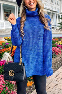 Turtle Neck Loose Sweater Dress