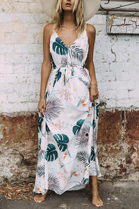V Neck Print Lace Up Maxi Dress