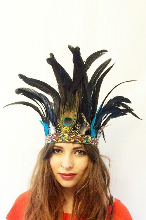 Indian Peacock Feather Hairband
