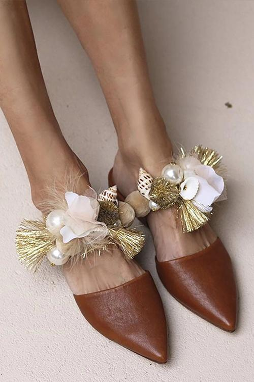Pearl Floral Pointed Toe Flat