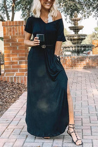 V Neck Side Slit Maxi Dress