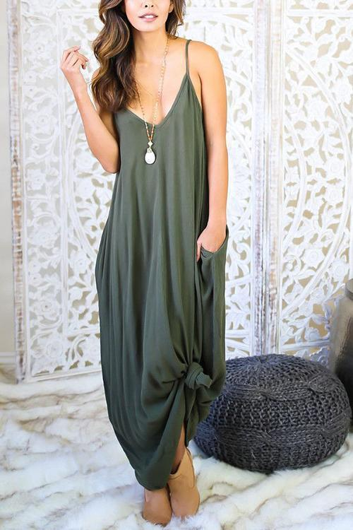 Pockets Loose Slip Maxi Dress