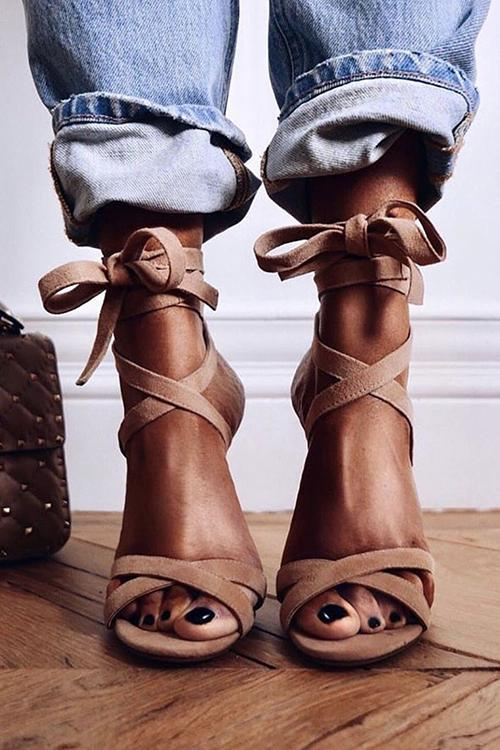 Lace Up High Heels Sandals
