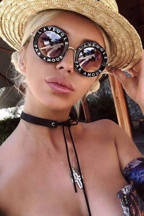 Letter Round Sunglasses