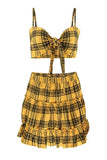 Plaid Bow Tie Skirt Set