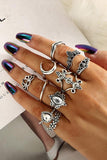 Vintage Lotus Moon Crown Ring Set