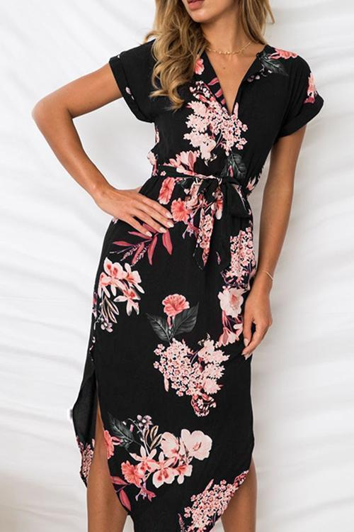 V Neck Floral Print Slit Dress