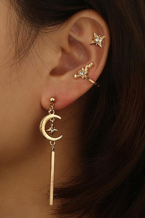 Crystal Star Moon Earrings