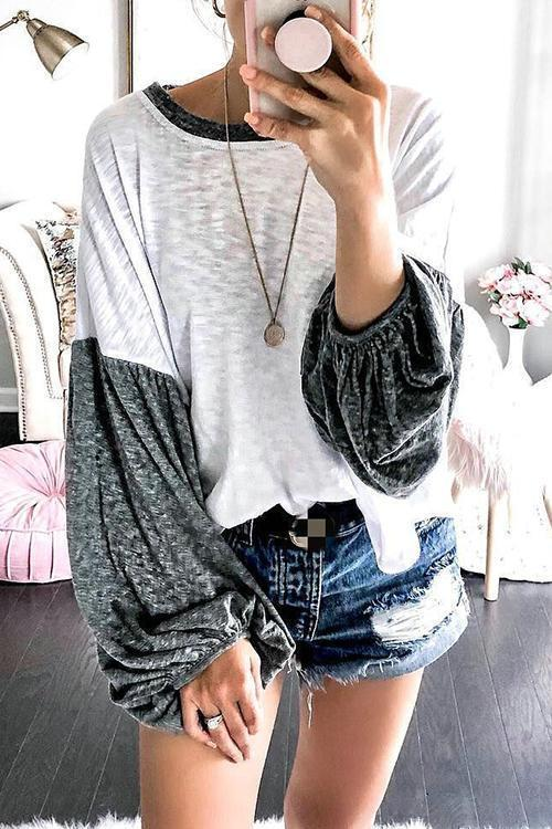 Patchwork Puff Sleeve T Shirt