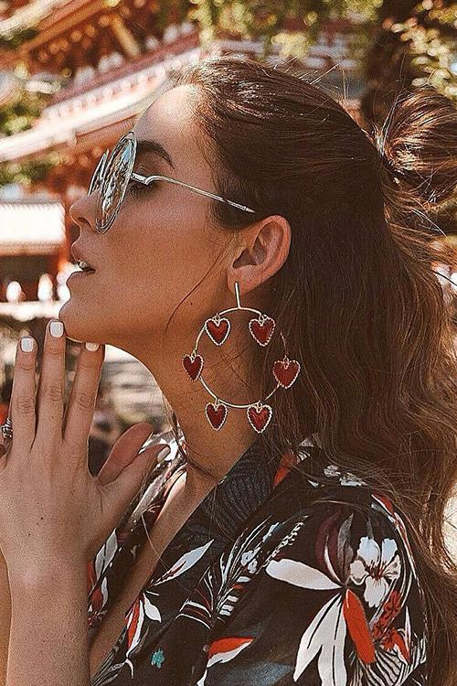 Heart Circle Earrings