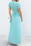 Deep V Neck Slip Maxi Wrap Dress