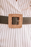 Straw Square Leather Belt