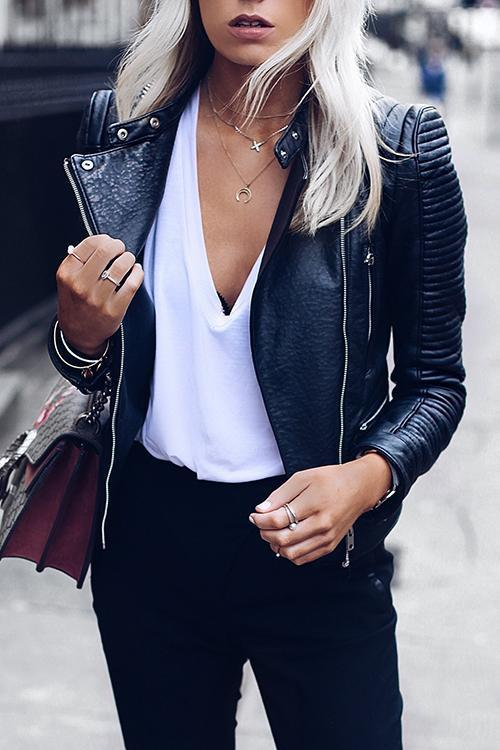 Zipper Slim Leather Jackets