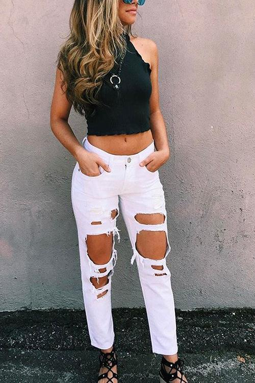 Broken Hole White Jeans